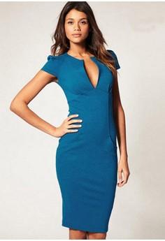 V-Neck Solid Knee-Length Straight Dress