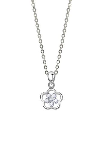 SC Tom Silver silver Flower Stone Pendant with Chain- SP142 w/chain SC872AC73JWCPH_1
