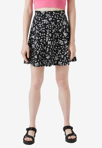 KOTON 黑色 花卉Skirt BDA4CAAA5467B4GS_1