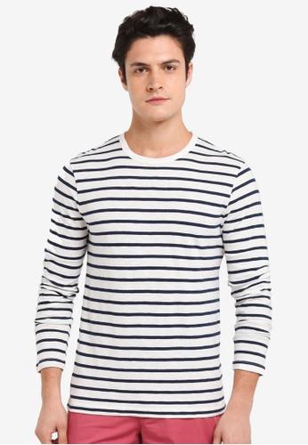 J.Crew white Deck Stripe Long Sleeve Tee 55FCBAA0254DA9GS_1