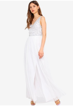 6cc5dfe0695 Frock and Frill white Flavia Embellished Bodice Maxi Dress  FD3F0AA6F4099AGS 1