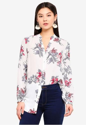 Wallis white Ivory Floral Print Shirt A3224AA81C560CGS_1