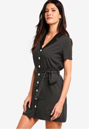 ZALORA black Button Down Dress With Fabric Belt 51F50AA4465897GS_1