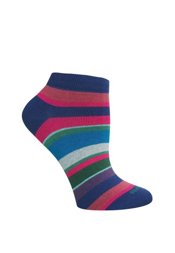 SOXGALERI multi Cotton Stripe Sneaker Socks - Women 4E9BAAAA7371E9GS_1