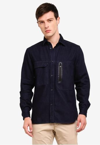 ESPRIT 藍色 長袖牛仔襯衫 380B7AA2121409GS_1