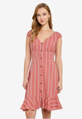 Brave Soul pink Button Through Short Sleeve Dress 8C0A0AA1DBAA43GS_1