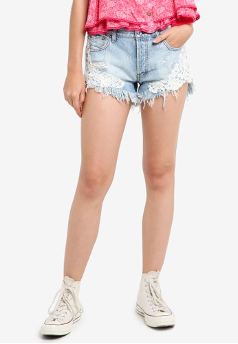 Free People blue Good Vibes Lace Shorts 1BFD6AA6443877GS_1