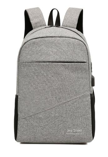 Jackbox grey Korean Fashion Joy Start Ipad Laptop Bag with USB Charging Port Backpack 541 (Grey 4CB49ACF780F6CGS_1