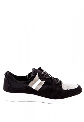 Otto black Suede Trainers with Side Stripes 990C2SH181BCF3GS_1