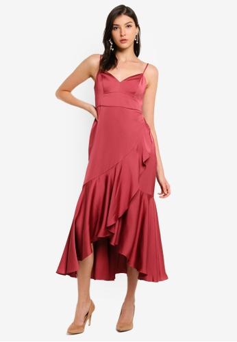 Forever New red Hazel Wrap Frill Midi Dress 2763DAA3FC0592GS_1