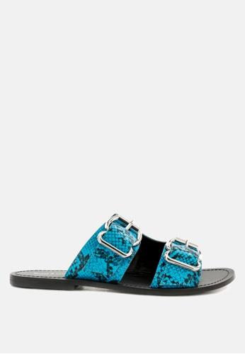 RAG & CO blue Snake Print Flat Sandal with Buckle Straps 47D27SH63FC5CDGS_1