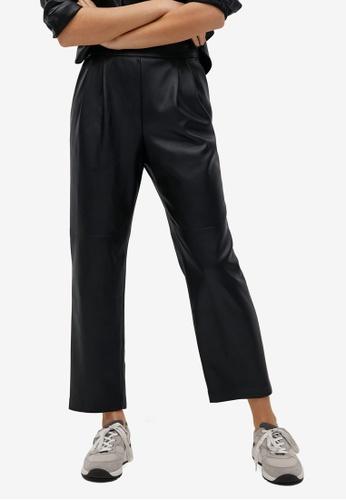 Mango black Darts Faux-Leather Trousers 3BA44AA7CEA2ECGS_1