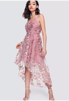 6200c1a206 LOVENGIFTS pink LOVENGIFTS Flower Applique Mesh Hi Low Wedding Bridesmaids  Prom Cami Dress (Pink)