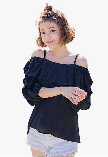 Tokichoi black Ruched Sleeves Off Shoulder Top 5AC85AAAC59C4EGS_1
