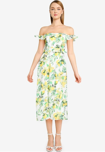 Forever New yellow Petite Nikki Bardot Midi Dress 74B72AABC39A4DGS_1