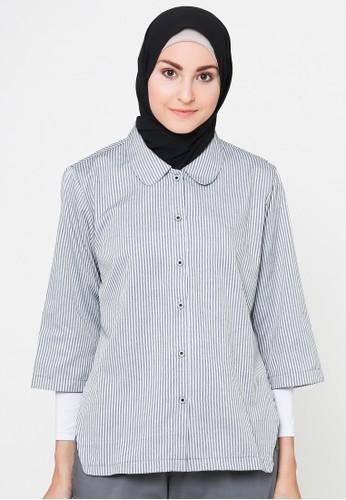 Cullotes Nadindra Grey Stripe Blouse