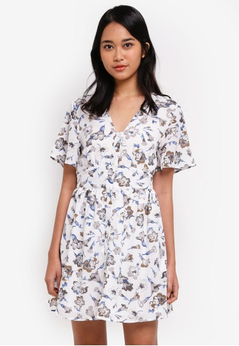 Something Borrowed white Button Down Waisted Dress DED36AAB9CD24EGS_1