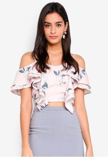 MDSCollections pink Layered Frilly Top In Pink Floral 9729CAA30CFA78GS_1