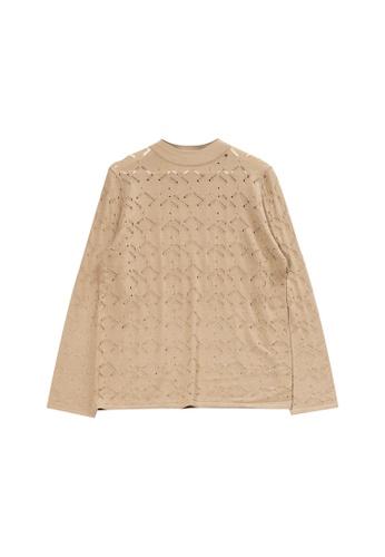 KLAPS beige Openwork Sweater D9E18AA8441C8FGS_1
