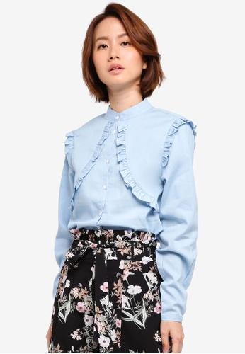 ZALORA blue Ruffle Top 47303AA6C6A5B6GS_1