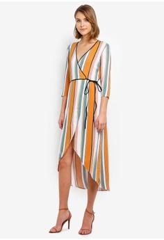 335322c0f4 Miss Selfridge multi and brown Rust Stripe Print Wrap Midi Tea Dress  63DA6AAA4EFC83GS 1