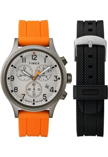 Timex black and orange Timex Allied Chrono Box Set 42mm - Silver-Tone Case, Black Strap (TWG018000) 723A2AC67E37FEGS_1