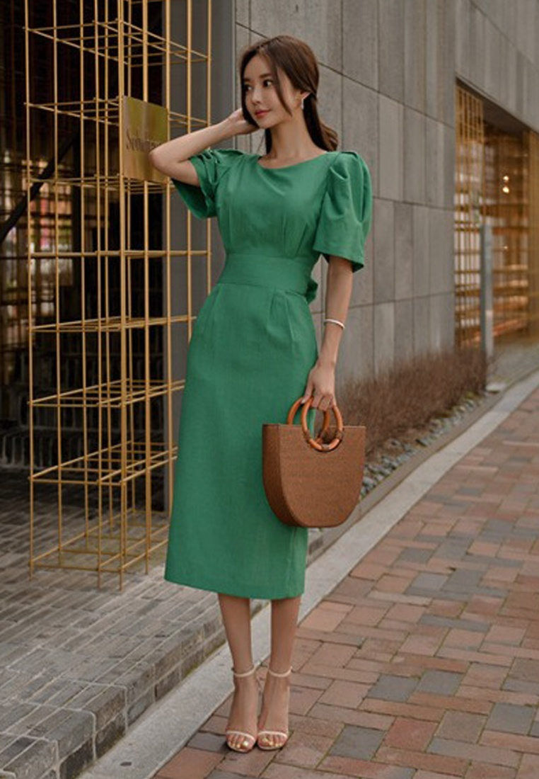 Green Piece Green Dress Tunic One Sunnydaysweety CA071822 2018 New Midi vZ4Xc645q