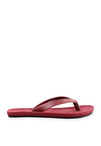 Minarno red Red Basic Faux Leather Sandals MI641SH24LVVID_1