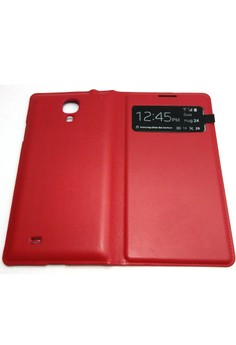 Leather S-View Flip Cover for Samsung S4 (Red)