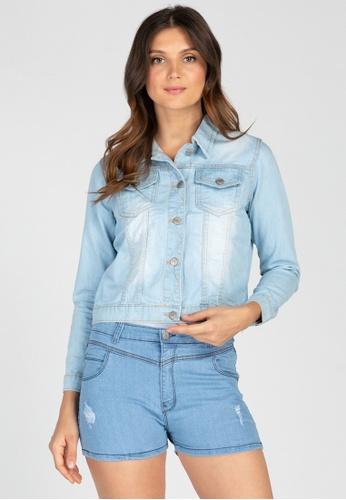 Ninety Nine Point Nine Boutiq blue Cropped Denim Jacket 3DEA6AAC3E8866GS_1
