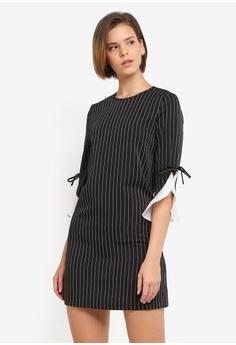ZALORA black Pinstripe Shift Dress D108DAA3A340C6GS_1