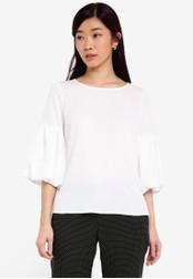 Dorothy Perkins white Petite Ivory Puff Sleeve Top DO816AA0RQUGMY_1