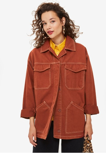 TOPSHOP brown Rust Topstitch Shacket 97488AA7434E1AGS_1