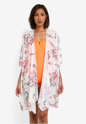 SunThing Cool white Blossom Floral Print Kimono Beach Cover SU709US0SCSAMY_1