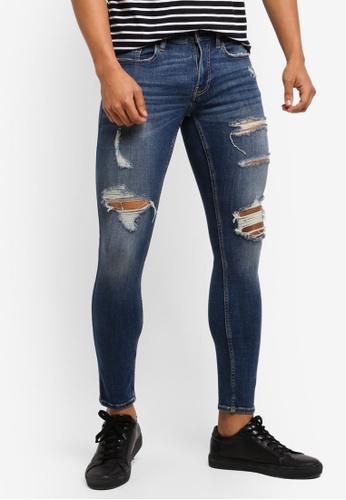 Hollister blue Skinny Dark Destroy Jeans B4E61AAC87933BGS_1