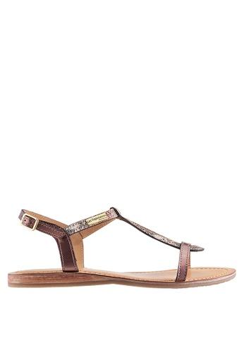 Les Tropeziennes Par M. Belarbi pink Hamat Copper Bronze Cross Ankle Leather Sandals AB8A4SH43C0EFDGS_1