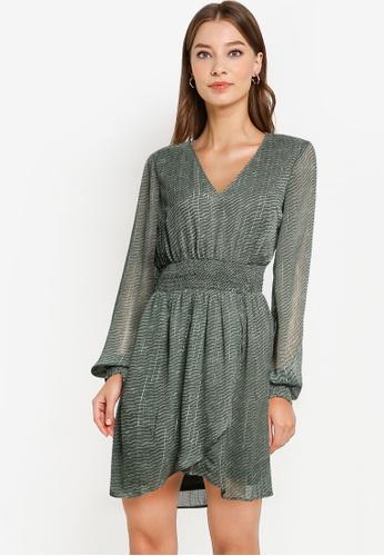 Vero Moda green Netta Long Sleeves V-neck Smock Dress 8896FAA0A4F020GS_1