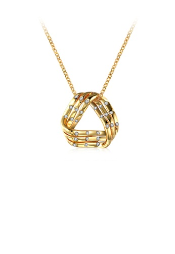 Glamorousky white Fashion and Simple Plated Gold Geometric Pendant with Cubic Zircon and Necklace E3E58AC6BA2462GS_1