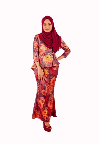 FATIMÉ pink and purple and gold Satin Premium Peplum Maria (Purple) A24A6AAC8D360AGS_1
