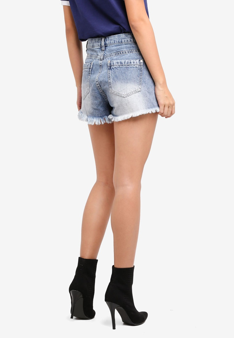Shorts Lace Blue Waisted Up MISSGUIDED High Denim wfn0EXn8q