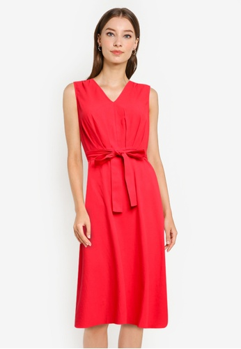 ZALORA WORK red Pleated Waist Dress With Self Tie A5FABAA694C901GS_1