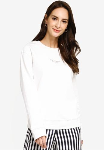 Hopeshow white Slogan Long Sleeve Sweater C4E4DAA01F3BA1GS_1