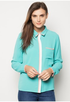 Long Sleeve Shirt with Piping Detail