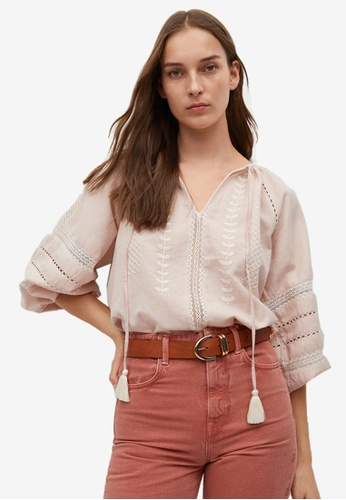 Mango pink Cotton Linen Embroidered Blouse 7D4B0AABD145BEGS_1