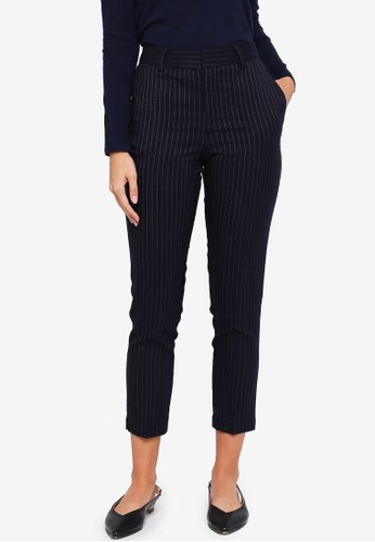 MANGO navy Striped Cotton Trousers C68C7AA7B30FB0GS_1