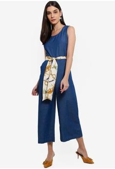 710cf879e1 ZALORA blue Sleeveless Denim Jumpsuit 5A57BAA5D22BF8GS 1