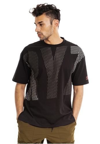 RYZ black RYZ Logo Patterned Black Short Sleeve T-Shirt. CA164AA9304F5CGS_1