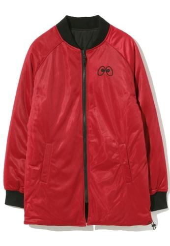 "Mini cream red ""BACK TO LONG"" long varsity jacket 80FFEAA7000CD3GS_1"