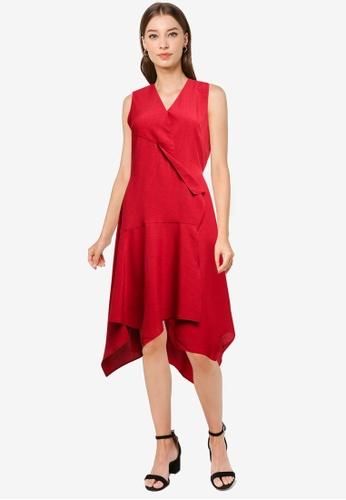 ZALORA WORK red Asymmetric Hem Dress F757FAAB7C19C4GS_1