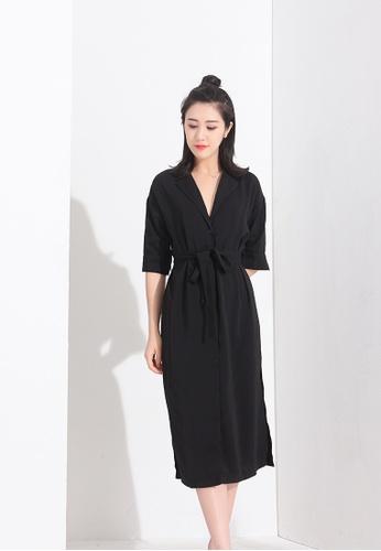 Zafiti black V Neckline Side Slit Dress with Belt 60FF3AAA7EFC94GS_1